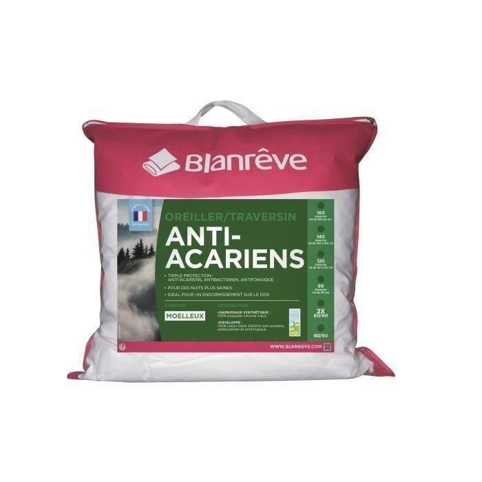 Blanreve lot de 2 oreillers anti acariens 60 cm achat for Anti acariens maison