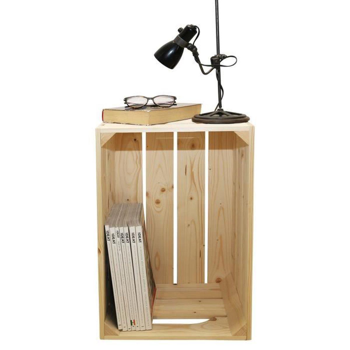 chevet 1s kit pr t assembler caisses en bois 54x36x30cm fabriqu e main en france achat. Black Bedroom Furniture Sets. Home Design Ideas