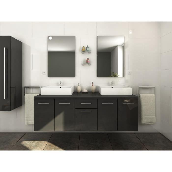 Olga salle de bain compl te double vasque 1m50 laqu gris brillant achat - Tarif salle de bain complete ...