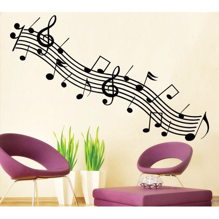 Rythme et notes de musique noires stickers muraux for Decoration murale note de musique