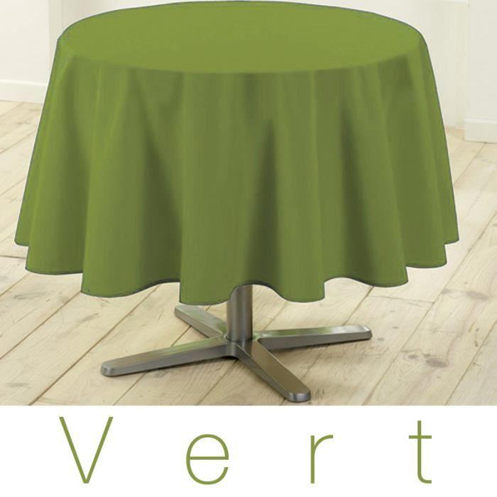 Nappe ronde anti tache 180 cm vert design actuel achat vente nappe de t - Table ronde 180 cm diametre ...