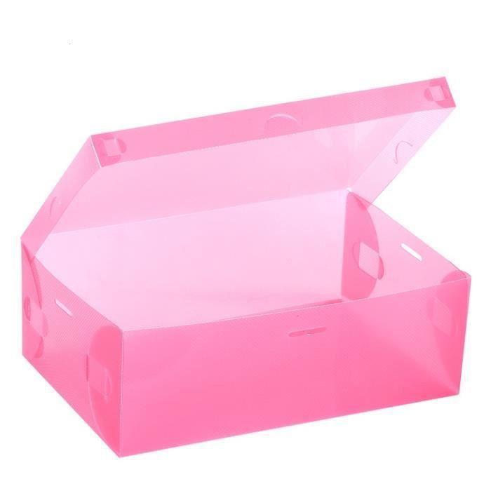 9pcs bo te de rangement de chaussures transparente rose - Boite rangement chaussure ...