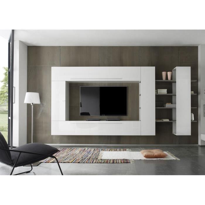 ensemble meuble tv mural blanc laqu et ch ne orlanna achat vente meuble tv ensemble meuble. Black Bedroom Furniture Sets. Home Design Ideas
