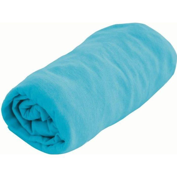 domiva drap housse jersey bleu 60 x 120 cm bleu turquoise achat vente drap housse matelas. Black Bedroom Furniture Sets. Home Design Ideas