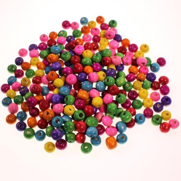 540 perles rondes en bois multicolores 8mm bijoux achat. Black Bedroom Furniture Sets. Home Design Ideas