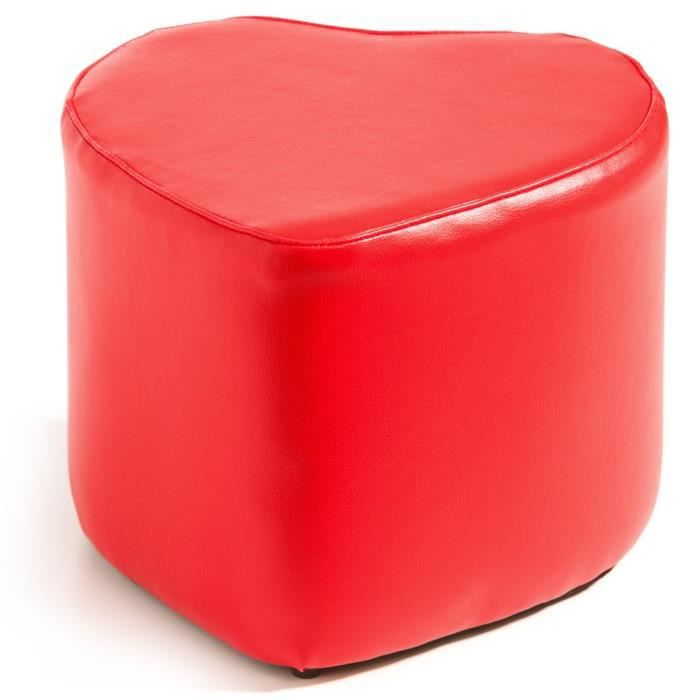 pouf effet cuir motif coeur rouge achat vente pouf. Black Bedroom Furniture Sets. Home Design Ideas