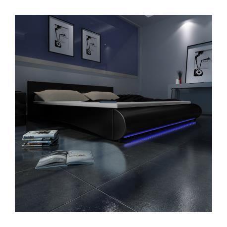 lit en pu avec t te de lit led 140 200 cm noir stylashop. Black Bedroom Furniture Sets. Home Design Ideas