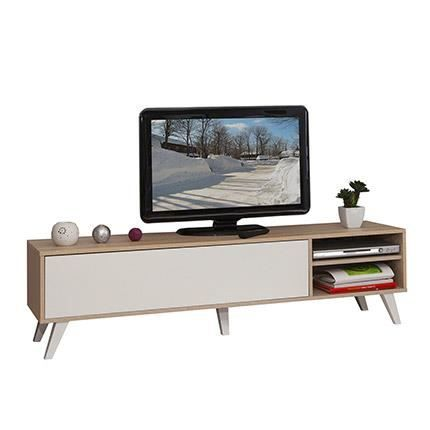 Meuble tv pieds inclin s 1 abattant ch ne blanc achat for Nabou meuble tv mural 319x207 cm chene cendre