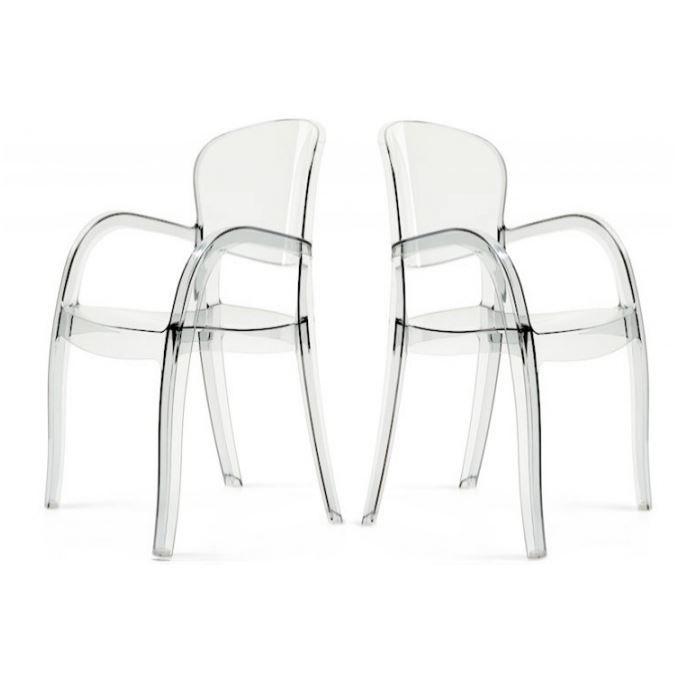lot de 2 chaises transparentes victor achat vente chaise plexiglas polycarbonate cdiscount. Black Bedroom Furniture Sets. Home Design Ideas