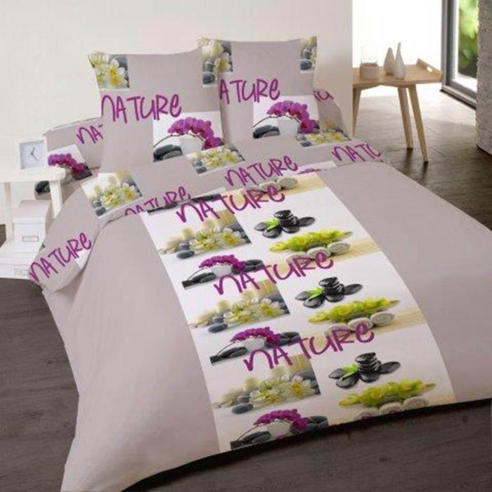 parure de lit 4 pi ces natural zen pour lit 2 p achat vente parure de drap cdiscount. Black Bedroom Furniture Sets. Home Design Ideas