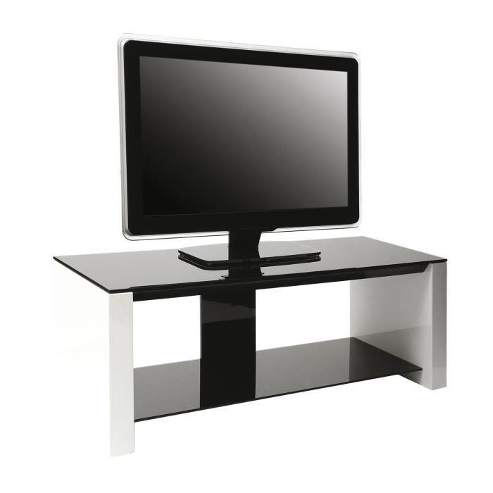 Erard smart meuble tv verre et bois 2 plateaux meuble - Meuble tv bois et verre ...