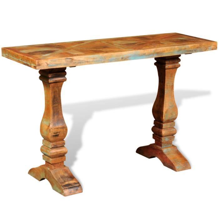 Table de console en bois solide recycl achat vente for Table console en bois