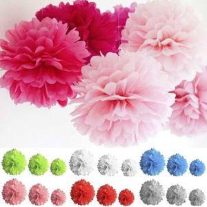 dcors de table boule pompon papier de soie lot de 3 couleurs - Boulette Papier Mariage