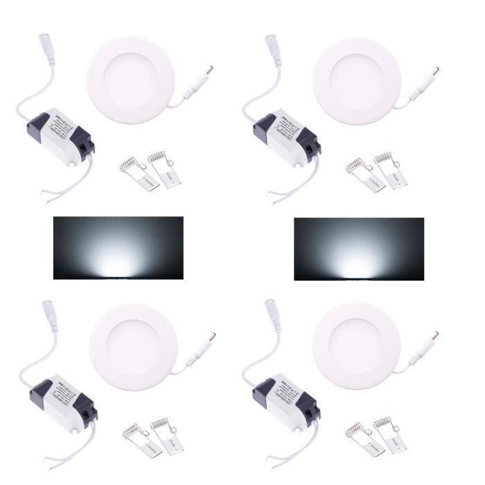 4 spot led panel encastrable 6w blanc froid 6000k socket aluminium achat vente ampoule. Black Bedroom Furniture Sets. Home Design Ideas