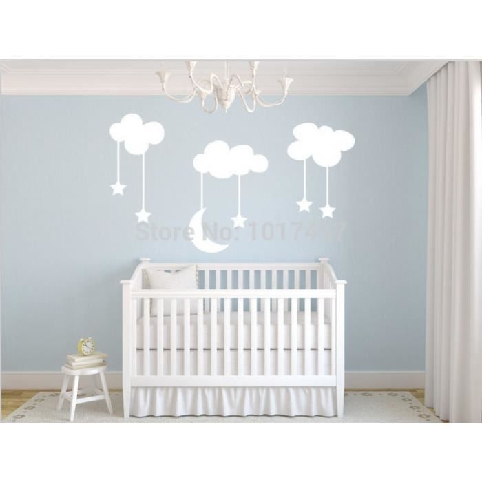 Lune toiles nurseries vinyle stickers muraux grand 220 - Stickers muraux nuages blancs ...
