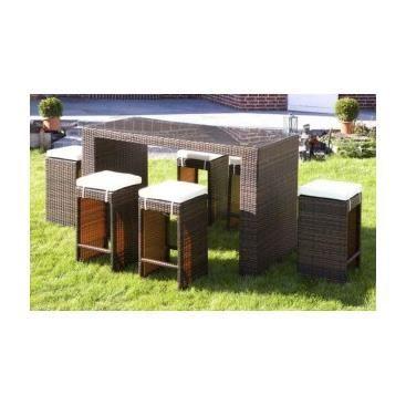 bar de jardin avec tabourets en poly rotin gerolamo. Black Bedroom Furniture Sets. Home Design Ideas