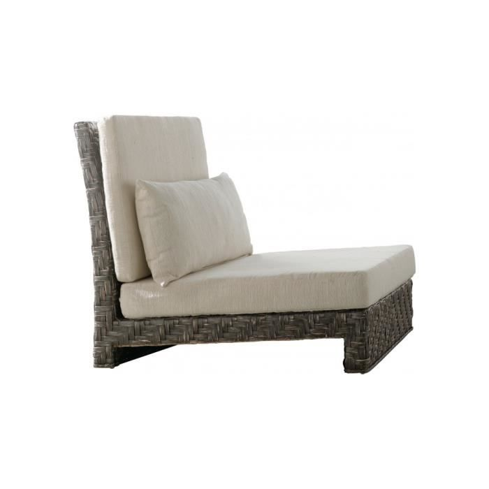 Fauteuil rotin plat tress gris anthracyte coussin cru for Chaise rotin tresse gris