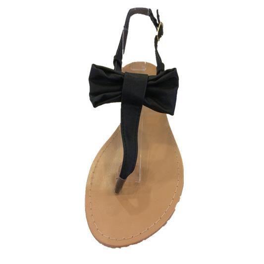 sandales plates noires pour femme avec un n ud papillon. Black Bedroom Furniture Sets. Home Design Ideas