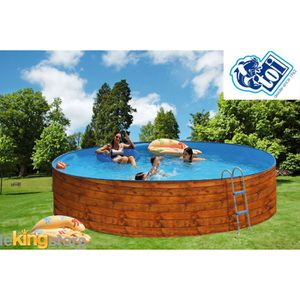 Piscine bois aspect bois achat vente piscine bois - Piscine acier aspect bois ...
