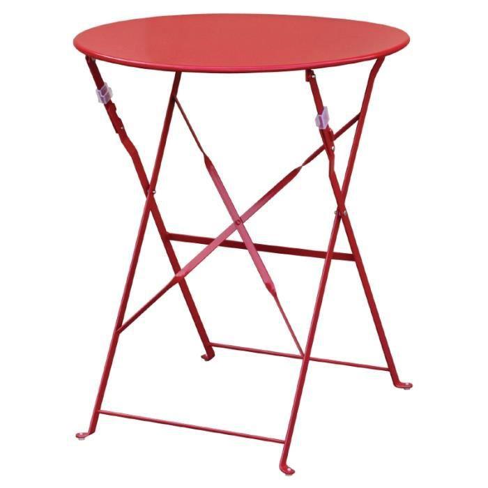 table de terrasse moderne coloris rouge achat vente table de jardin table de terrasse. Black Bedroom Furniture Sets. Home Design Ideas