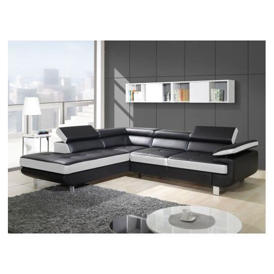 Canap design d 39 angle studio noir et blanc angle gauche for Canape noir et blanc design
