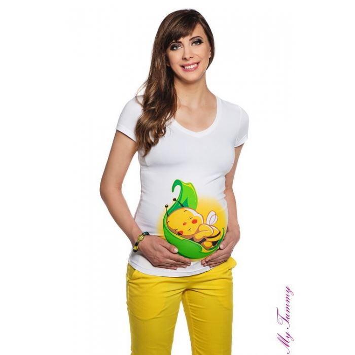 tee shirt de grossesse avec une abeille sur une fe blanc achat vente t shirt 2009989757064. Black Bedroom Furniture Sets. Home Design Ideas