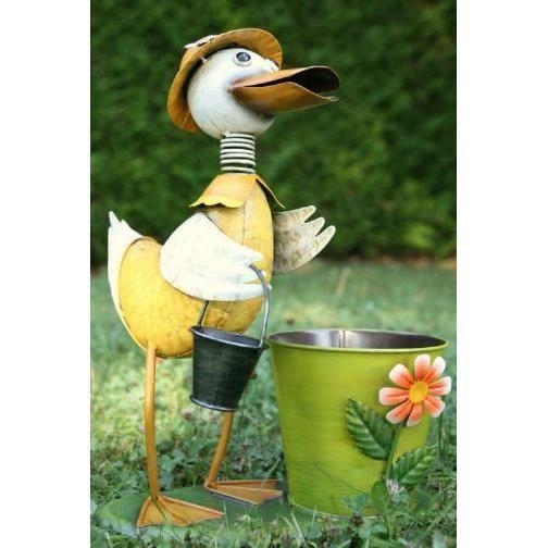 Figurine de jardin canard avec pot en m tal 38c achat Figurine pour jardin
