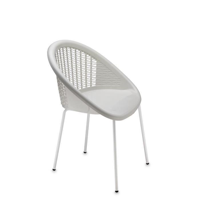 4 chaises blanches design pieds blancs bonbon achat vente chaise polyp - Chaises blanches design ...