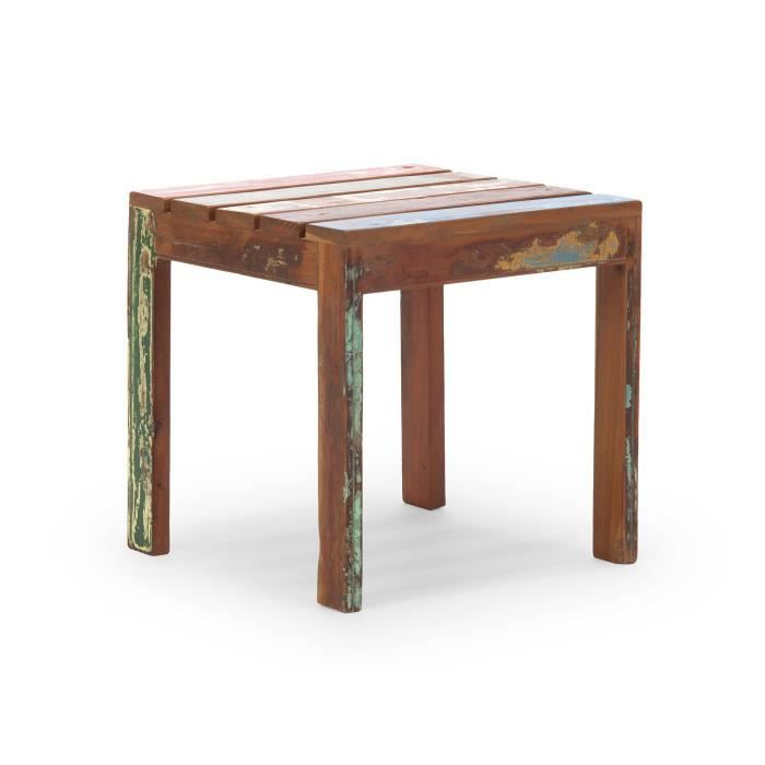 Table d 39 appoint avadi 50x50 en teck recycl mul achat for Meuble 50x50