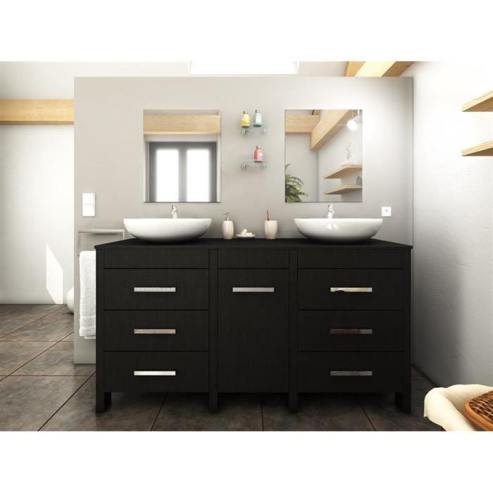 Meuble de salle de bains venise noir achat vente salle for Meuble salle de bain complet