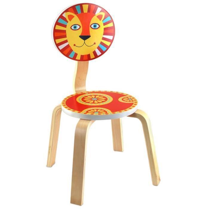 chaise enfant en bois lion 61x33 cm achat vente. Black Bedroom Furniture Sets. Home Design Ideas