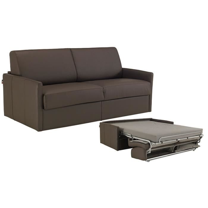 canap convertible star cuir vachette marron 120cm achat vente canap sofa divan cuir. Black Bedroom Furniture Sets. Home Design Ideas