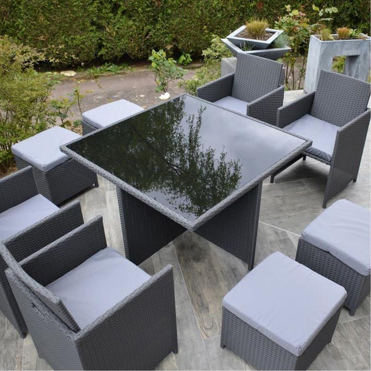Munga ensemble encastrable salon table de jardin r sine tress e 8 places gris achat - Ensemble de table de salon ...