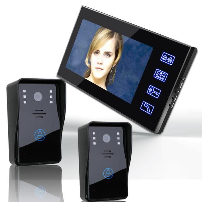 7 video door phone intercom sonnette avec 2pcs1000tvl. Black Bedroom Furniture Sets. Home Design Ideas