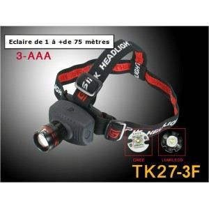 Lampe frontale tk27 3f led cree 3w achat vente lampe for Achat maison 3f