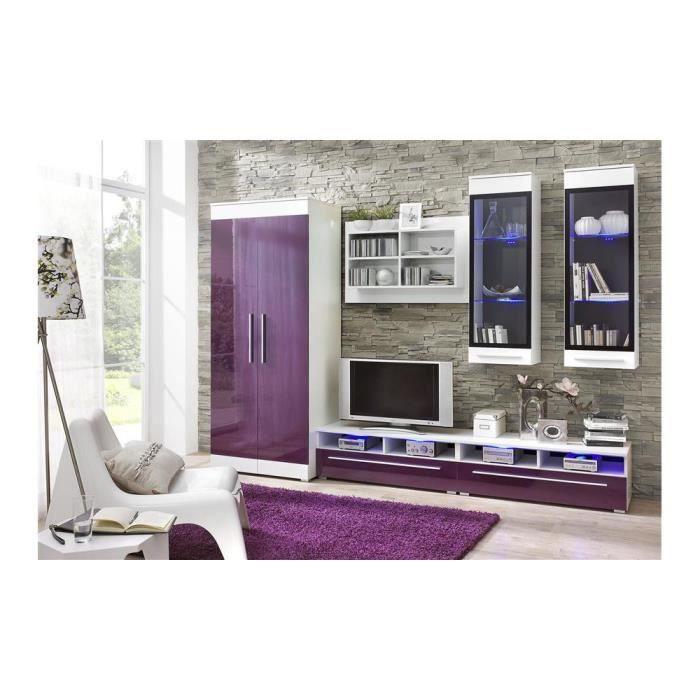 Verona iii ensemble de meubles de salon couleur blanc mat violet laqu hau - Salon couleur violet ...