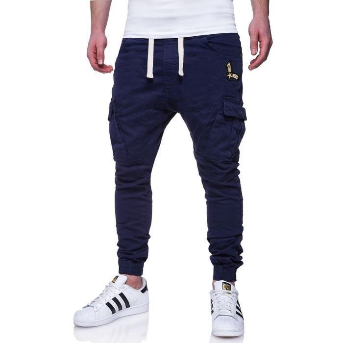 jogg jeans cargo pour homme jeans 94 bleu marine bleu bleu achat vente jeans soldes d. Black Bedroom Furniture Sets. Home Design Ideas