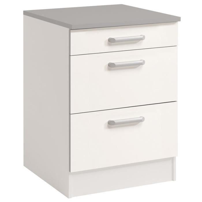 Paris prix meuble bas 3 tiroirs 60 cm shiny blanc achat ven - Meuble bas 3 tiroirs ...
