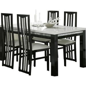 table a manger avec chaises noir achat vente table a. Black Bedroom Furniture Sets. Home Design Ideas