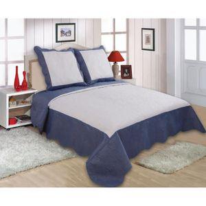 couvre lit bleu 2 personnes achat vente couvre lit bleu 2 personnes pas cher cdiscount. Black Bedroom Furniture Sets. Home Design Ideas