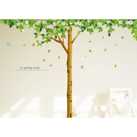 Grand arbre vert au printemps stickers muraux d coration for Autocollant mural arbre