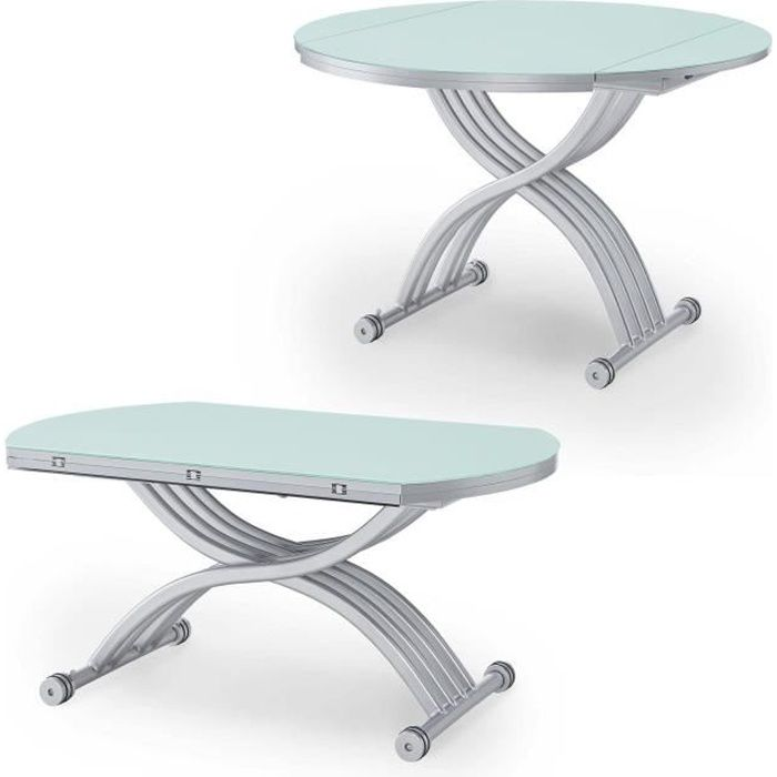 Table basse ronde relevable extensible laqu blanc achat for Table basse blanc laque ronde