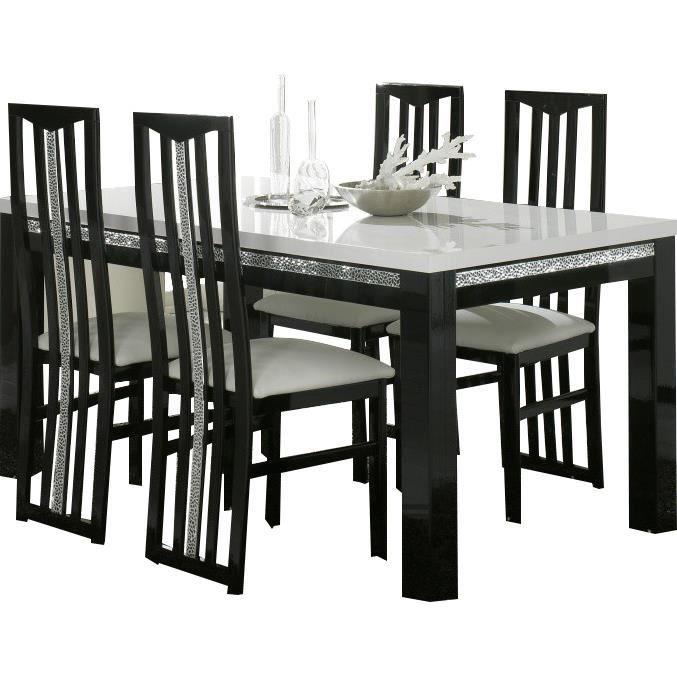 Table manger 160cm 4 chaises noires et blanches - Table a manger et chaises ...
