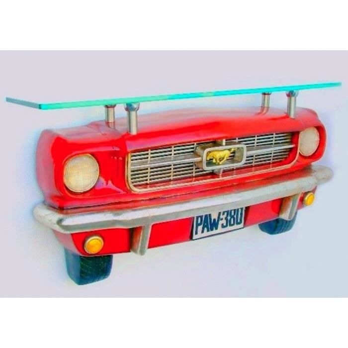 Etagere murale ford mustang rouge 3d plateau verre deco for Deco murale usa