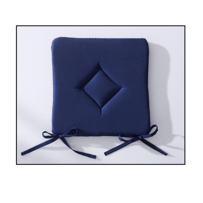 Galette de chaise unie 40x40cm couleur ciel orage achat - Galette de chaise avec rabat ...