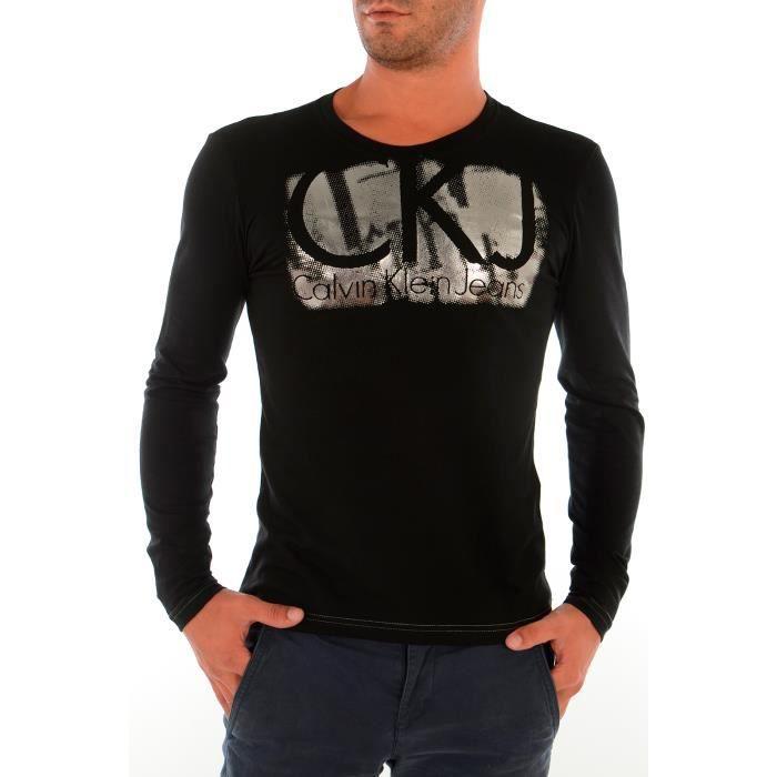 Tee shirt calvin klein homme manches longues noir achat - Tee shirt manche longue calvin klein ...