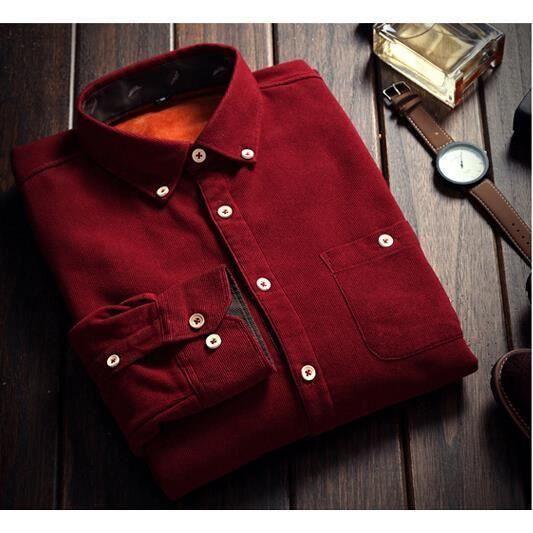 hiver homme une chemise manches longues et velours paissi cu achat vente chemise. Black Bedroom Furniture Sets. Home Design Ideas