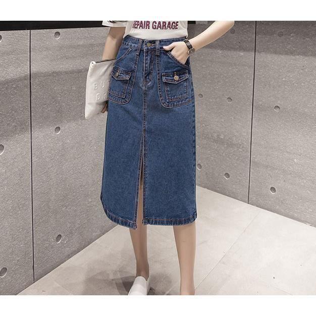 jupe femme en denim jean mi longue taille haute a line fente devant avec boutons poches casual. Black Bedroom Furniture Sets. Home Design Ideas