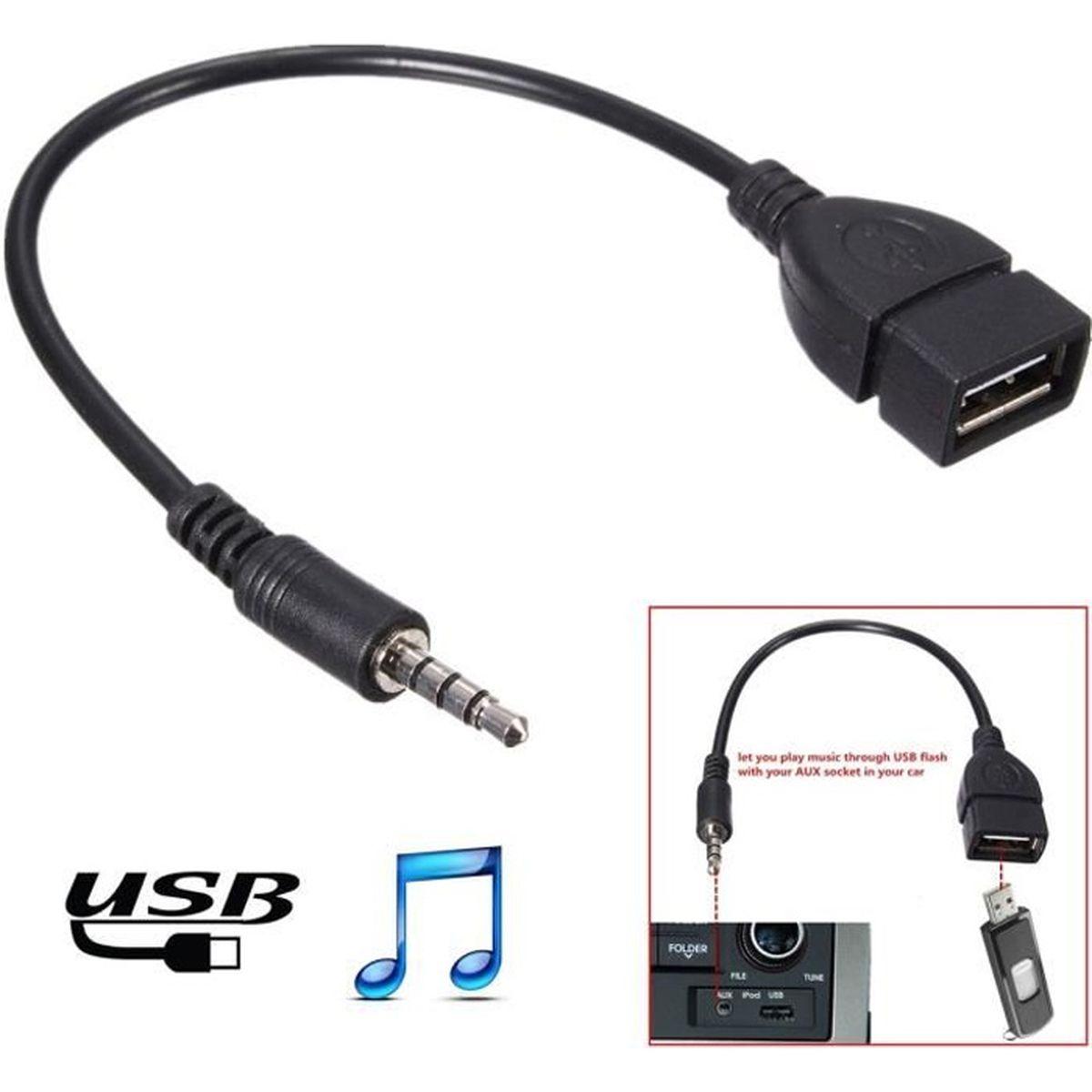 m le audio aux jack vers usb 2 0 a femelle convertisseur adaptateur cable pas cher achat. Black Bedroom Furniture Sets. Home Design Ideas