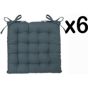 coussin lot de 6 gallettes de chaise en coton coloris orag - Coussin Color Pas Cher